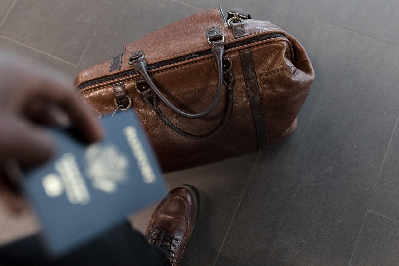 bag and passport for traveling