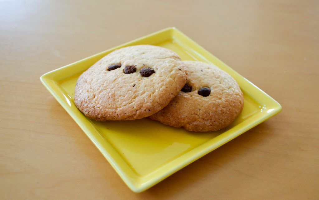 chocolate chip cookie on a plate